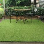 turf rug on the patio with friends